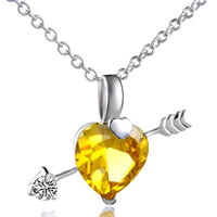 Necklace & Pendants - 925 sterling silver topaz yellow crystal cupids arrow heart love pendant necklace sterling silver pendant Image.