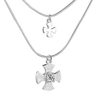Necklace & Pendants - 925 sterling silver clear white crystal diamond accent cross pendant necklace sterling silver pendant Image.