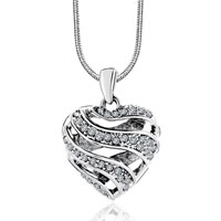 Sterling Silver Jewelry - hollow heart with april birthstone clear crystal sterling silver wedding pendants sterling silver pendant Image.