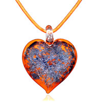 Necklace & Pendants - orange murano glass heart with purple glitter pendants Image.