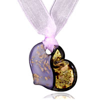 Necklace & Pendants - light purple and gold glitter murano glass heart pendants Image.