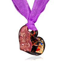 Necklace &amp; Pendants - light coral and black murano glass heart with multicolor artistic glitter pendants Image.
