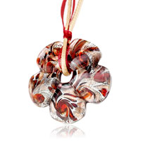 Necklace & Pendants - silver foil murano glass peach blossom with red pattern pendants Image.