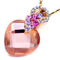 Necklace & Pendants - detailed crystal cluster dangle pink october birthstone crystal heart wedding pendant Image.