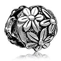 European Beads - bright chrysanthemum silver plated beads charms bracelets Image.