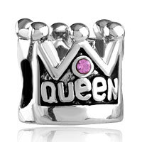 European Beads - pink crystal queen crown fit all brands silver plated beads charms bracelets Image.