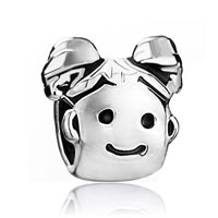European Beads - cute pigtail girl silver plated beads charms bracelets Image.
