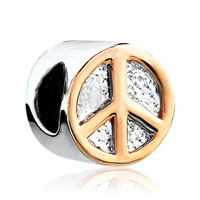 European Beads - golden peace logo fit all brands two tone plated beads charms bracelets Image.