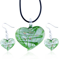 Murano Glass Jewelry - green murano glass heart pendant and earrings set Image.