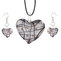  - black gray heart with black lines murano glass pendant and earrings set Image.