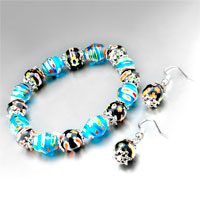 Murano Glass Jewelry - murano glass sky blue interval of black pattern bracelet and black earrings set pendant Image.