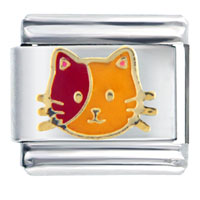 Italian Charms - orange and red cat italian charm Image.