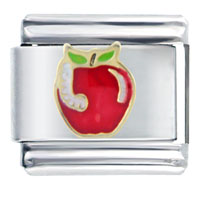 Italian Charms - worm and apple italian charm Image.