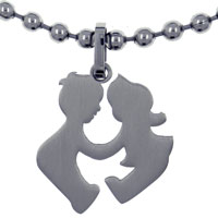 ST1035: cute children playing stainless steel pendant jewelry Image.