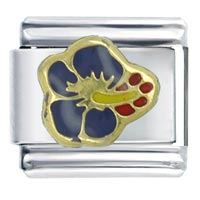 Italian Charms - navy hibiscus flower italian charm Image.