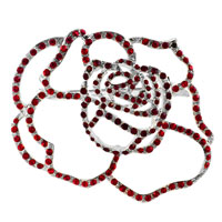 Vintage Rose Flower Garnet Red Swarovski Crystal Diamond Accent Brooches And Pins