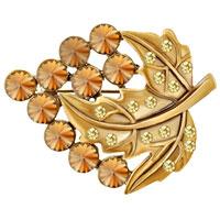 Vintage Double Leaf Tiger Eye Fashion Brooch Pin