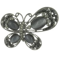 Brooches & Pins - vintage asymetrical butterfly with acrylic stone and black diamond crystal animal brooches and pins Image.