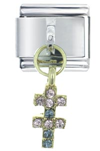 Italian Charms - rhinestone double crosses dangle italian charm Image.