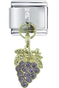 Italian Charms - purple grape bunch dangle italian charm Image.