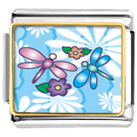 Italian Charms - dragonflies and flowers charm photo italian charm Image.