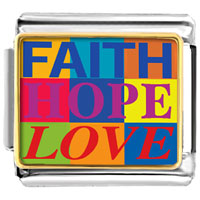 Italian Charms - faith hope love photo charm Image.