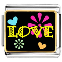 Italian Charms - love hearts and flowers charm photo italian charm Image.