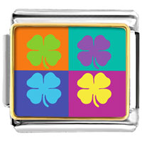 Italian Charms - colorful four leaf clovers charm photo italian charm Image.