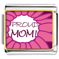 Italian Charms - pink proud mom charm photo italian charm Image.