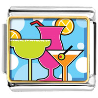 Italian Charms - gold plated cartoon theme photo italian charm cocktail summer Image.