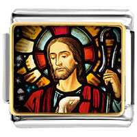Italian Charms - gold plated religion jesus photo italian charm bracelets Image.