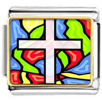 Items from KS - gold plated religion stained glass photo italian charm bracelets Image.