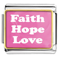 Italian Charms - pink faith hope love photo italian charm Image.
