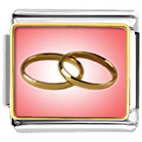 Italian Charms - wedding rings pink and golden charm photo italian charm Image.