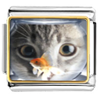 Italian Charms - fishbowl and cat charm Image.