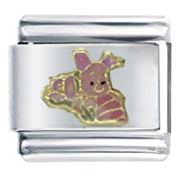 Italian Charms - piglet with flowers licensed italian charm Image.