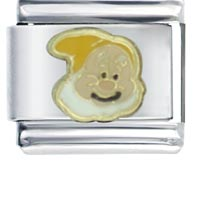 Italian Charms - gold dwarf happy licensed italian charm Image.