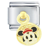 Italian Charms - gold christmas minnie licensed italian charm Image.