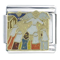 Italian Charms - bible story angel and the shephards x2  italian charm Image.
