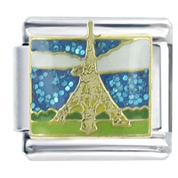 X2_V1376Z_PG: golden eiffel tower x2 italian charm Image.