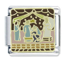 Italian Charms - christmas nativity scene x2 italian charm Image.