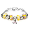 Mother Jewelry Yellow Murano Glass And Metal Beads Bracelet Dangle Star