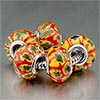 5 Red Hots With Yellow Flower Beads  Charms Bracelets 