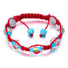Aquamarine And Pale Beads On Red Cotton Rope Adjustable Shamballa Bracelet...