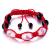 Pink And Black Beads On Red Cotton Rope Adjustable Shamballa Bracelet Bead...