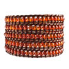 Classic Indian Red Agate Beads Chan Luu Wrap Bracelet On Brown Leather Bea...