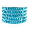 Pugster Genuine Turquoise Gemstone Beads Style Chan Luu Wrap Bracelets On Blue Leather