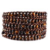 Pugster Classic Black Brown Agate Beads Style Chan Luu Wrap Bracelet On Brown Leather