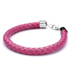 Rose Pink Woven Pattern Leather Bracelet