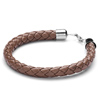 Fashion Brown Woven Pattern Leather Bracelet